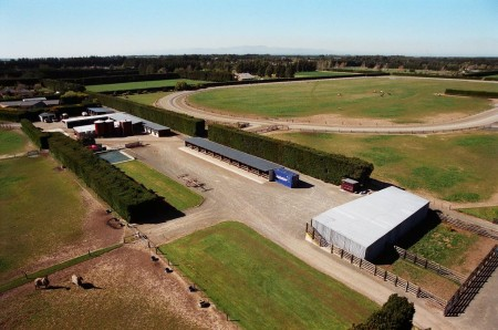 Another aerial view of the barns before the yearling barn was added.